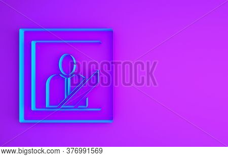 Blue Mourning Photo Frame With Black Ribbon Icon Isolated On Purple Background. Funeral Ceremony And
