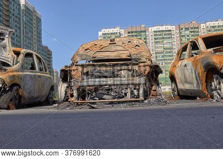 City Burned Cars After A Fire In One Of The Citys Districts