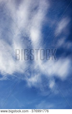 Blue Sky Background With White High Clouds Altostratus, Cirrocumulus, Cirrus.