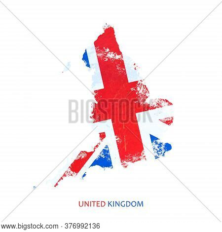 England Flag In The Form Of A Map Of England. Isolated On A White Background.