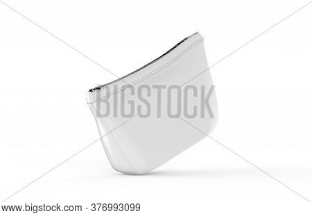 Blank White Pouch For Cosmetics Mock Up On Isolated White Background, Empty Linen Beautician Bag Wit