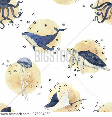 Mistery Sea Is A Collection Of High-quality Hand-drawn Watercolor And Line Art Pattern Of Sea Animal