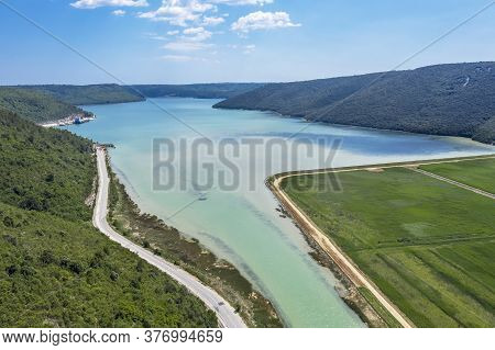 An Aerial View Of Rasa Bay, Place Of Inflow River Rasa In Adratic Sea, Istria, Croatia