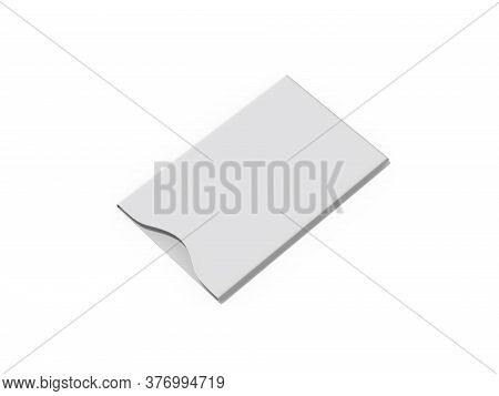 White Blank Sleeve For Debit Card, Credit Card And Gift Card, Mock Up Template On Isolated White Bac