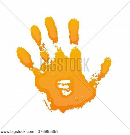 Hand Paint Print 3d, Isolated White Background. Orange Human Palm And Fingers. Abstract Art Design,