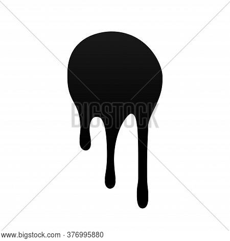 Drip Paint. Ink Stain. Drop Melt Liquid Isolated On White Background. Splash Of Chocolate, Oil, Bloo