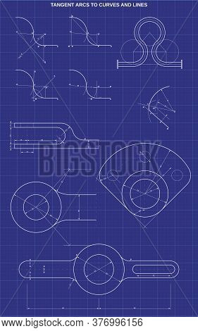 Tangent Arcs To Curves And Lines On Technic Background