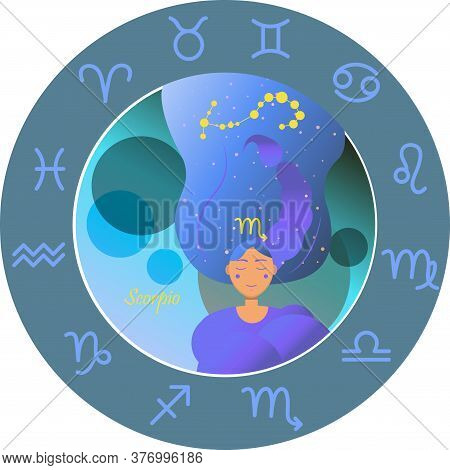 Vector Illustration Of The Zodiac Sign By Horoscope. A Girl With Long Hair Of The Starry Sky And The