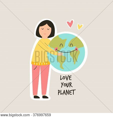 Young Girl Hugging Smiling Earth Planet. Love You Planet Concept