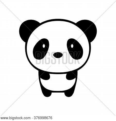 Panda Black Sign Icon. Vector Illustration Eps 10