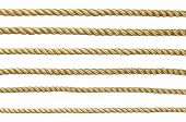 Seamless golden rope isolated on white background for continuous replicate. poster