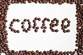 Text by coffee beans on a white background poster