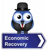 Economic recovery sign isolated on white background poster