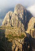 morning view from Dolomiti di Sesto or Sextener Dolomiten - Sextener Rotwand or Croda Rossa di Sesto - South Tirol - Italy poster
