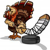 Cartoon Vector Image of a Thanksgiving Holiday Hockey Turkey with Hockey Stick and Puck poster