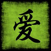 Love Chinese Calligraphy Symbol Grunge Background Set poster