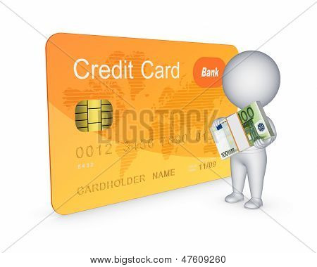 Credit card concept.Isolated on white.3d rendered. See my other works in portfolio. poster