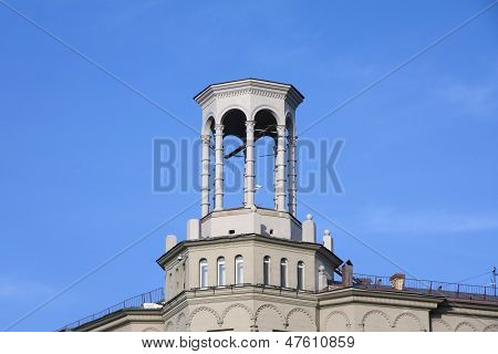 Rotunda On The Roof Of The Building In The Citycenter Of Moscow