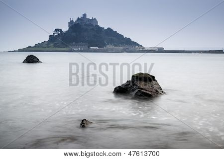 St Michael's Mount Bay Marazion long exposure landscape during twilight Cornwall England