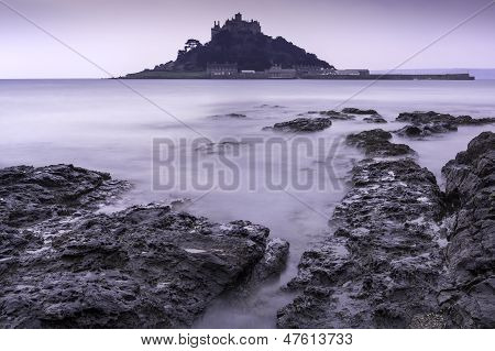 St Michael's Mount Bay Marazion landscape pre-dawn long exposure Cornwall England