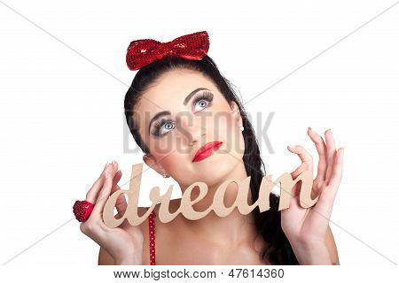 Isolated Pin Up Woman With A Dream In Grasp