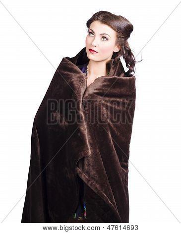 Cold Girl Feeling The Chill Of Winter In Blanket