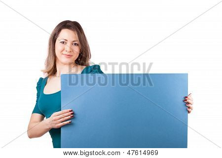 young woman with blank