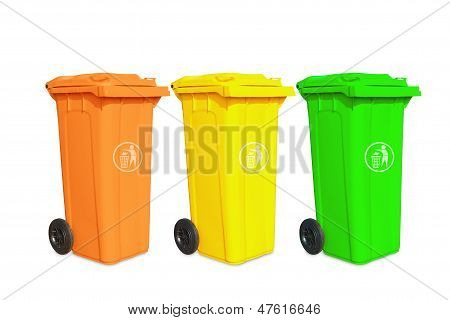 Large Three Garbage Bins With Sign