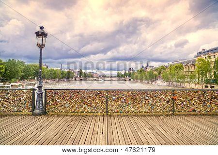 Love Padlocks On Pont Des Arts Bridge, Seine River In Paris, France.