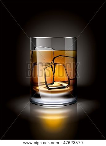 Alcoholic drink with ice in a dark environment
