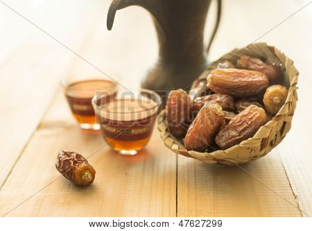 Coffee and dates still life