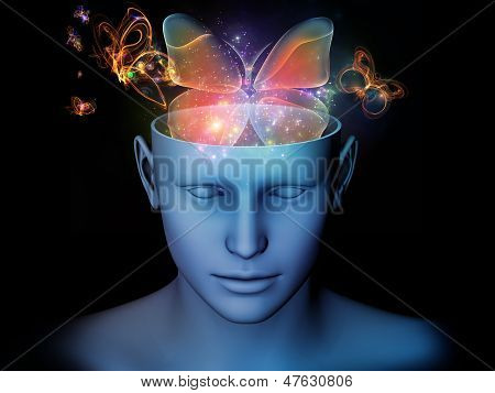 Backdrop of cutout of male head and symbolic elements on the subject of human mind consciousness imagination science and creativity poster