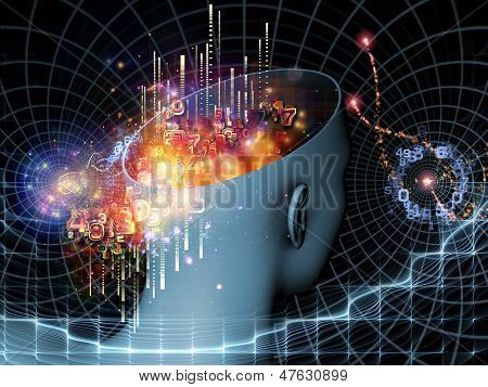 Composition of cutout of male head and symbolic elements on the subject of human mind consciousness imagination science and creativity poster