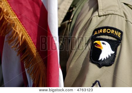 Us Soldier And Flag Of Airborne Division