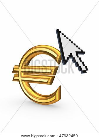 Cursor and sign of euro.Isolated on white.3d rendered. poster