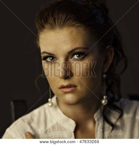 Portrait Of Woman On Gray