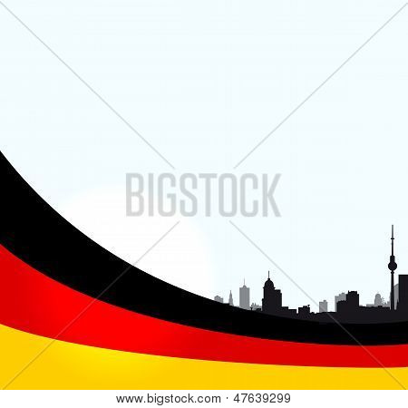 vector Berlin illustration with German flag
