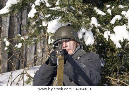 Soviet-finnish War 1939-1940: Finnish Soldier. Focus On Face
