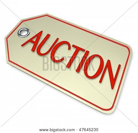 A price tag with the word Auction to attach to an item you are auctioning for sale to the highest bidder