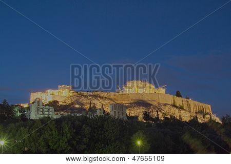 Acropolis of Athens illuminated Greece