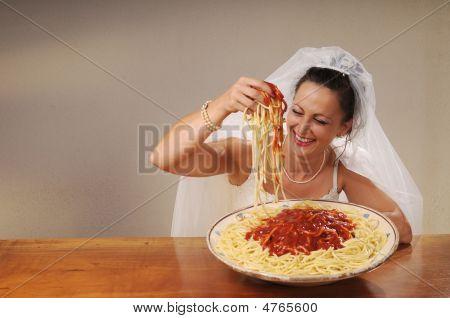Bride Eats Spaghetti