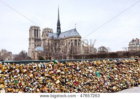 Pont De L Archeveche With Love Padlocks In Paris