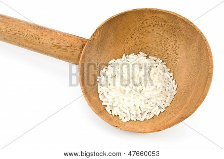 Large Wooden Spoon With Rice