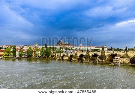 View over the Vltava of Charles Bridge