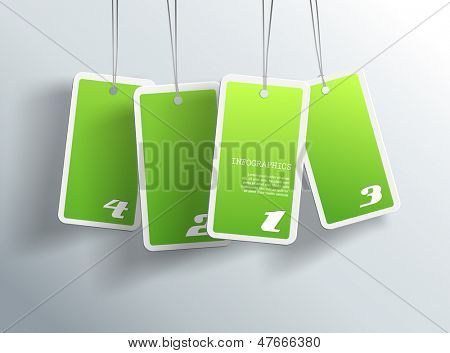 Four hanging green cards. You can place your own text on each card.