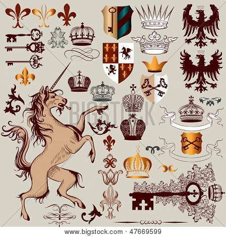 Vector Set Of Hand Drawn Heraldic Elements For Design