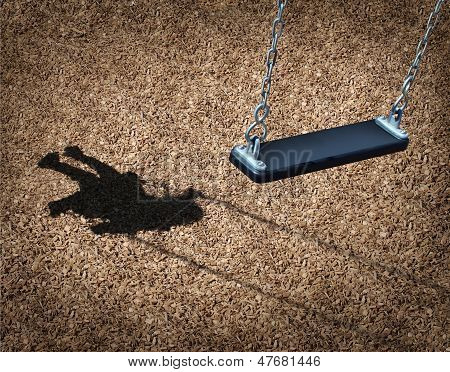 Missing child concept with an empty playground swing and the shadow of a little girl on the park floor as a symbol of children losing their childhood and being lost as in a failed adoption or youth despair caused by family violence. poster