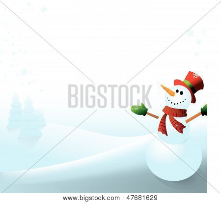 Snowman on Wintery White Background
