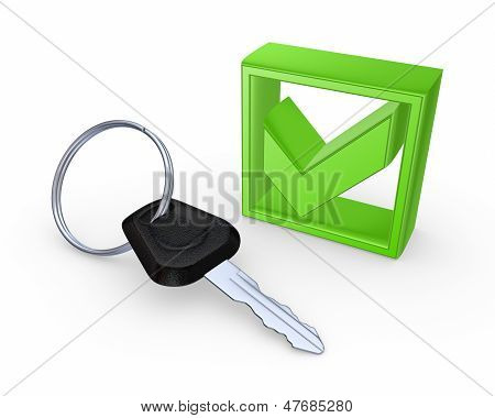 Key from car and green tick mark. poster