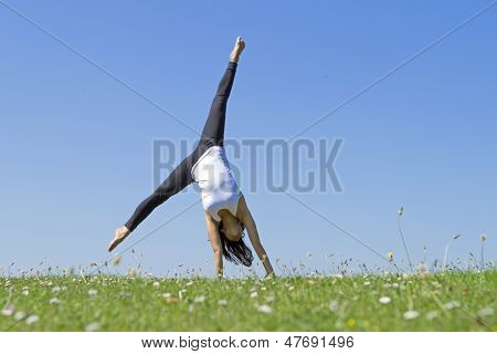 Young Woman Cartwheel